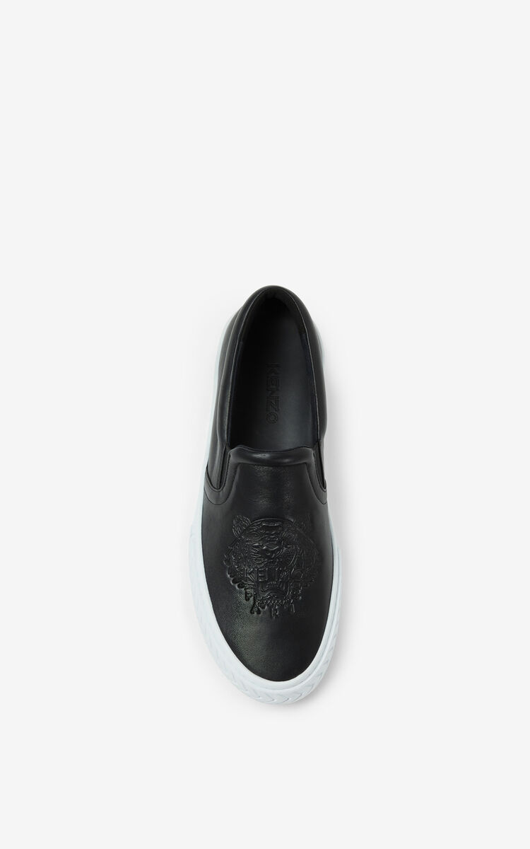 BLACK Leather K-Skate Tiger sneakers without laces for men KENZO