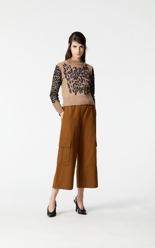 DARK BEIGE 'Leopard' jacquard jumper for women KENZO