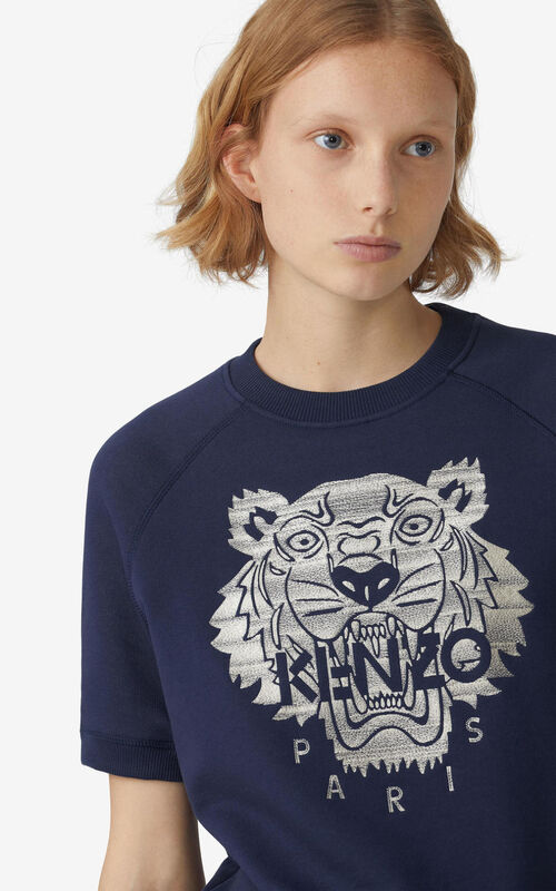 NAVY BLUE Tiger short-sleeved sweatshirt with embroidery for women KENZO