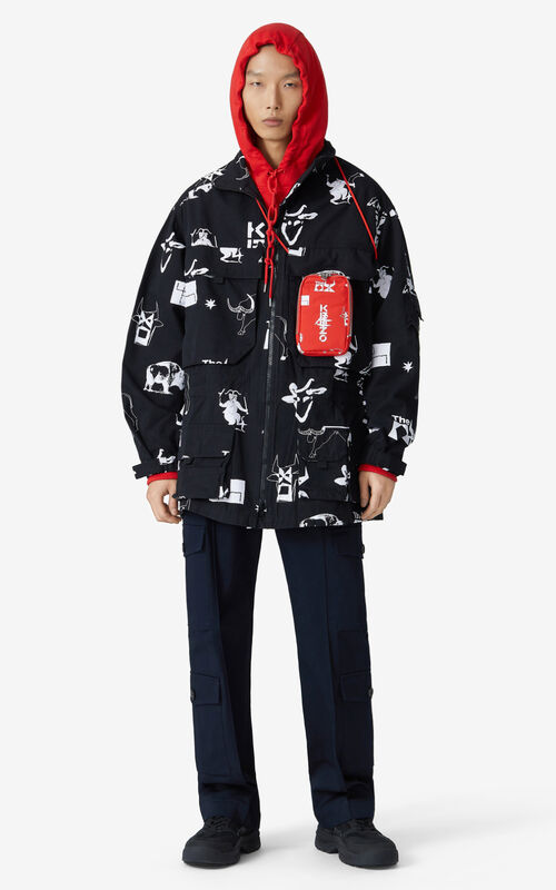 BLACK 'Sign & Symbol' oversize parka for men KENZO