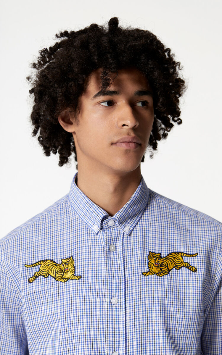 BLUE 'Jumping Tiger' check shirt for men KENZO