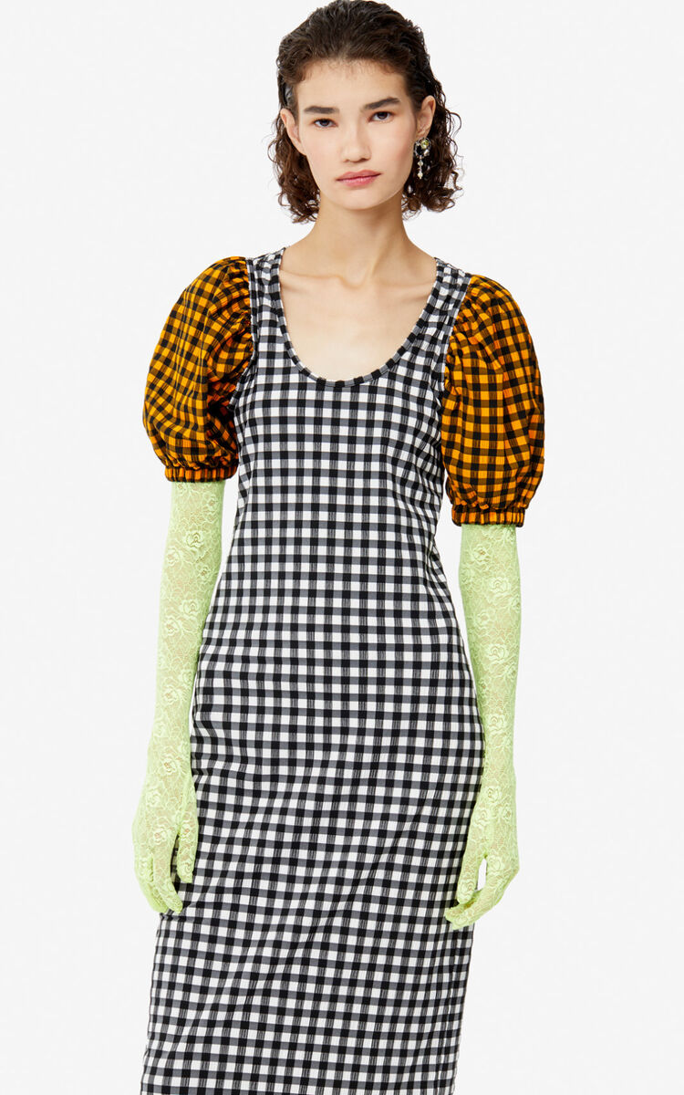 WHITE Long gingham dress for women KENZO