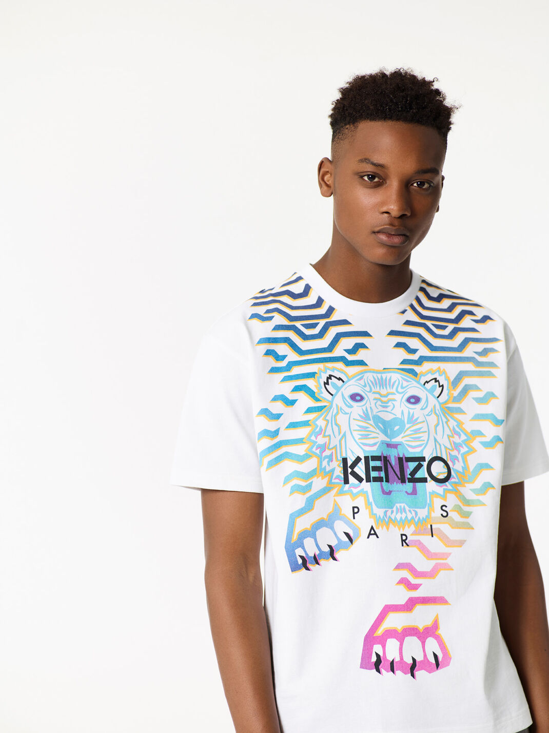 WHITE T-shirt Tigre 'Rainbow' for men KENZO