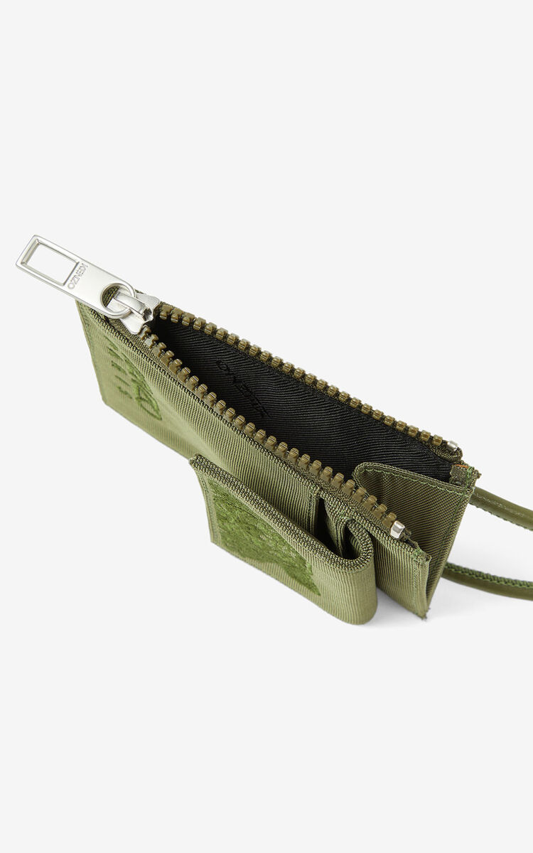 KHAKI Canvas Kampus Tiger card holder with long strap for unisex KENZO