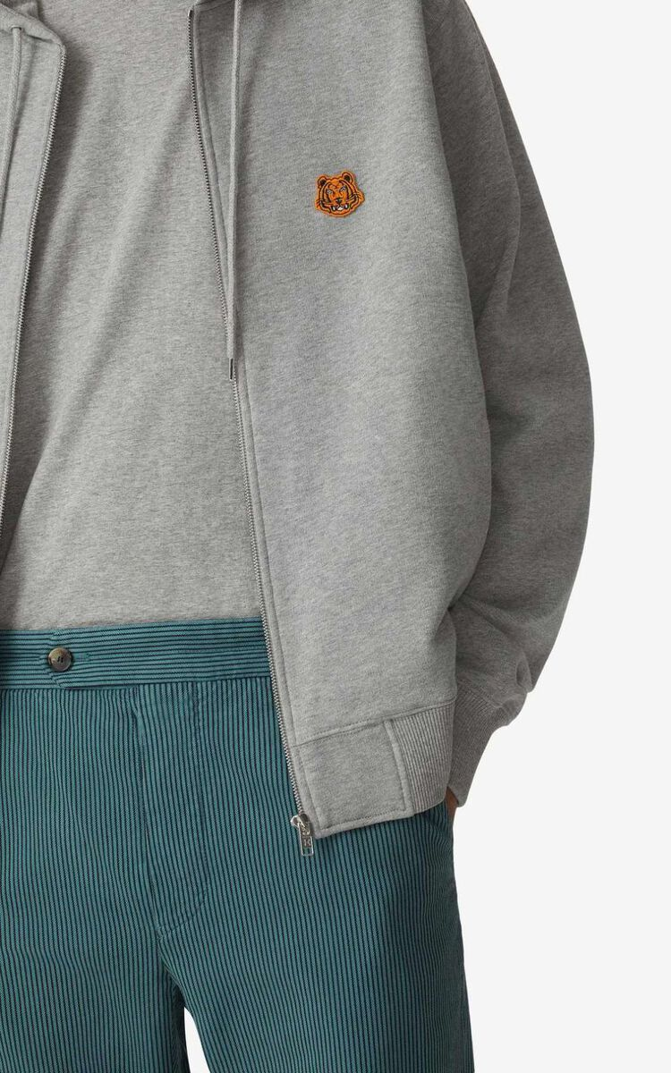 PEARL GREY Tiger Crest zipped hoodie for women KENZO