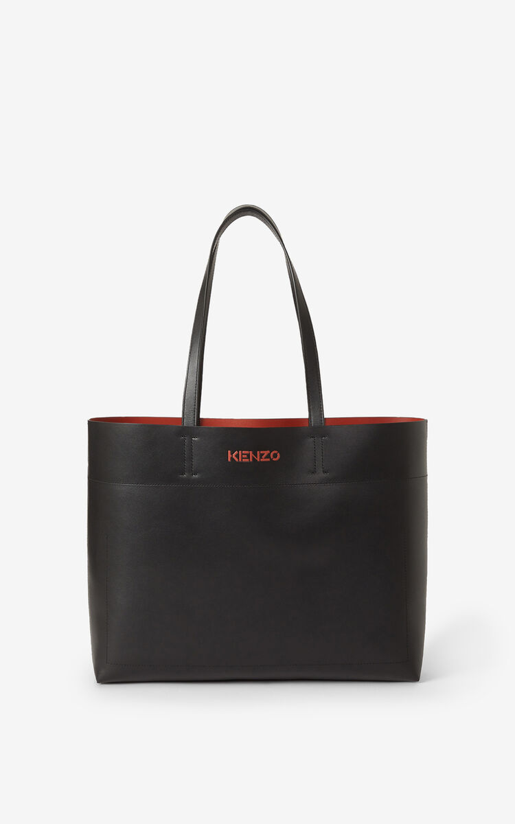 BLACK KENZO Cadet leather tote bag for women
