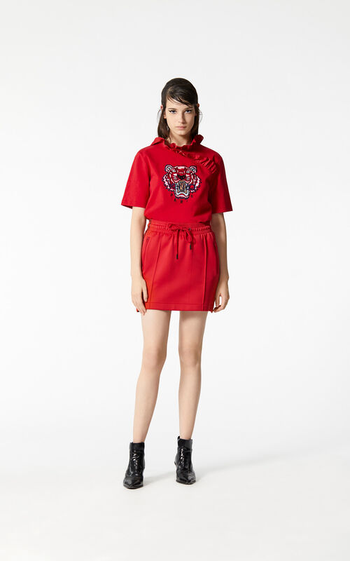 MEDIUM RED KENZO Logo skirt for women