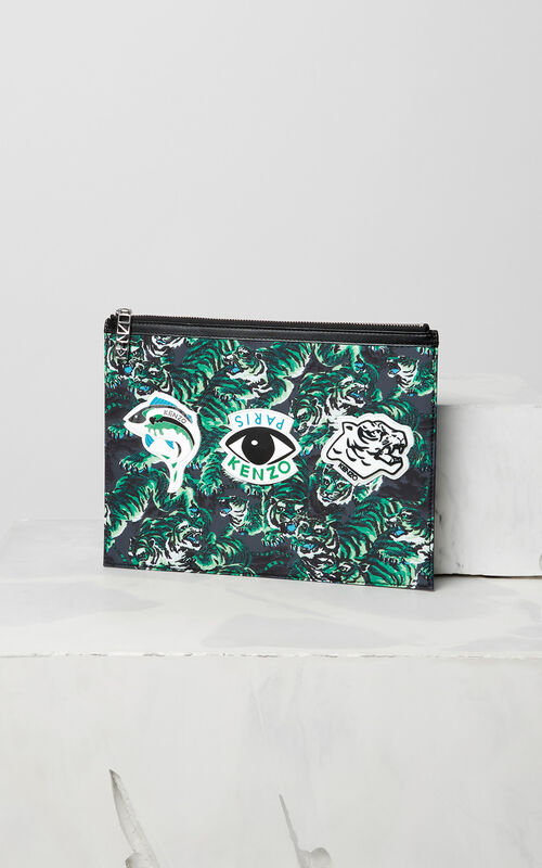 GRASS GREEN Flying Tiger Clutch for unisex KENZO