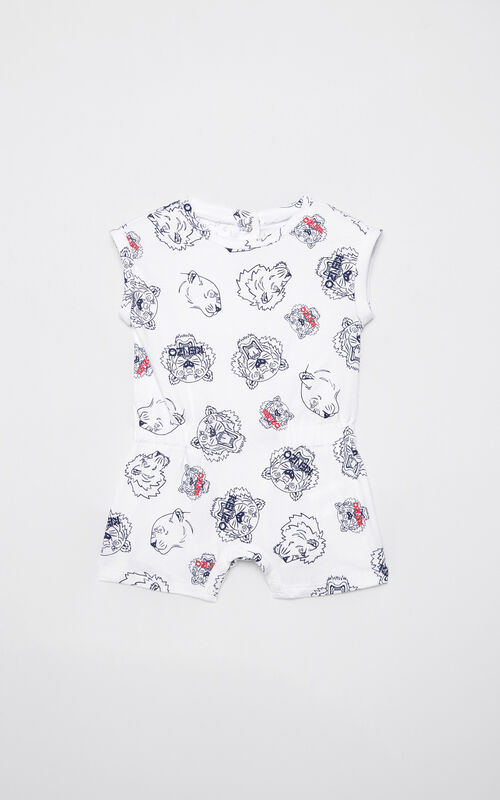 WHITE Multi-icon playsuit for women KENZO