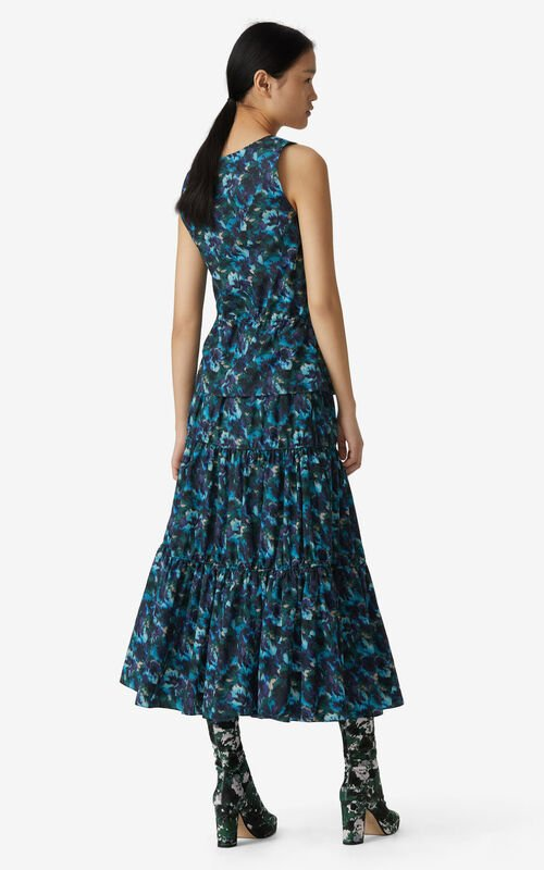 DUCK BLUE 'Aquarelle' midi skirt for women KENZO