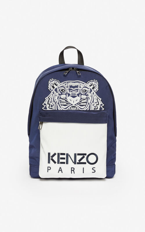 MIDNIGHT BLUE Large 'Colorblock Tiger' backpack for unisex KENZO
