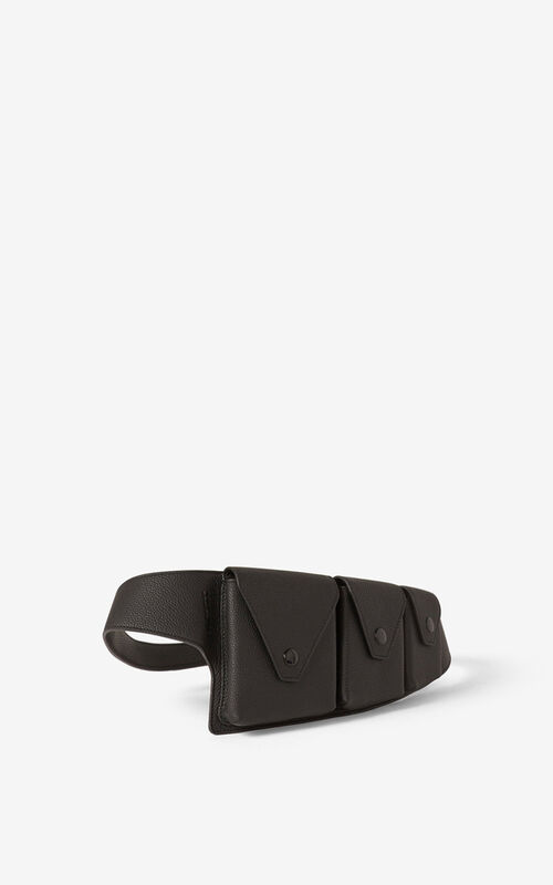 BLACK KENZO Onda leather utility belt for men