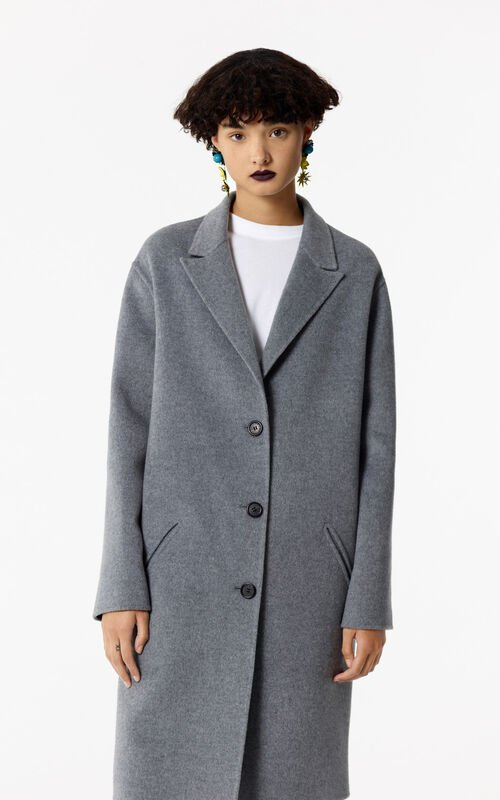 PALE GREY Wool coat for women KENZO