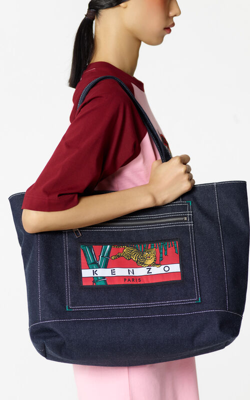 NAVY BLUE Denim 'Bamboo Tiger' Tote for men KENZO