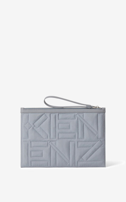 PEARL GREY Arctic nylon clutch for unisex KENZO