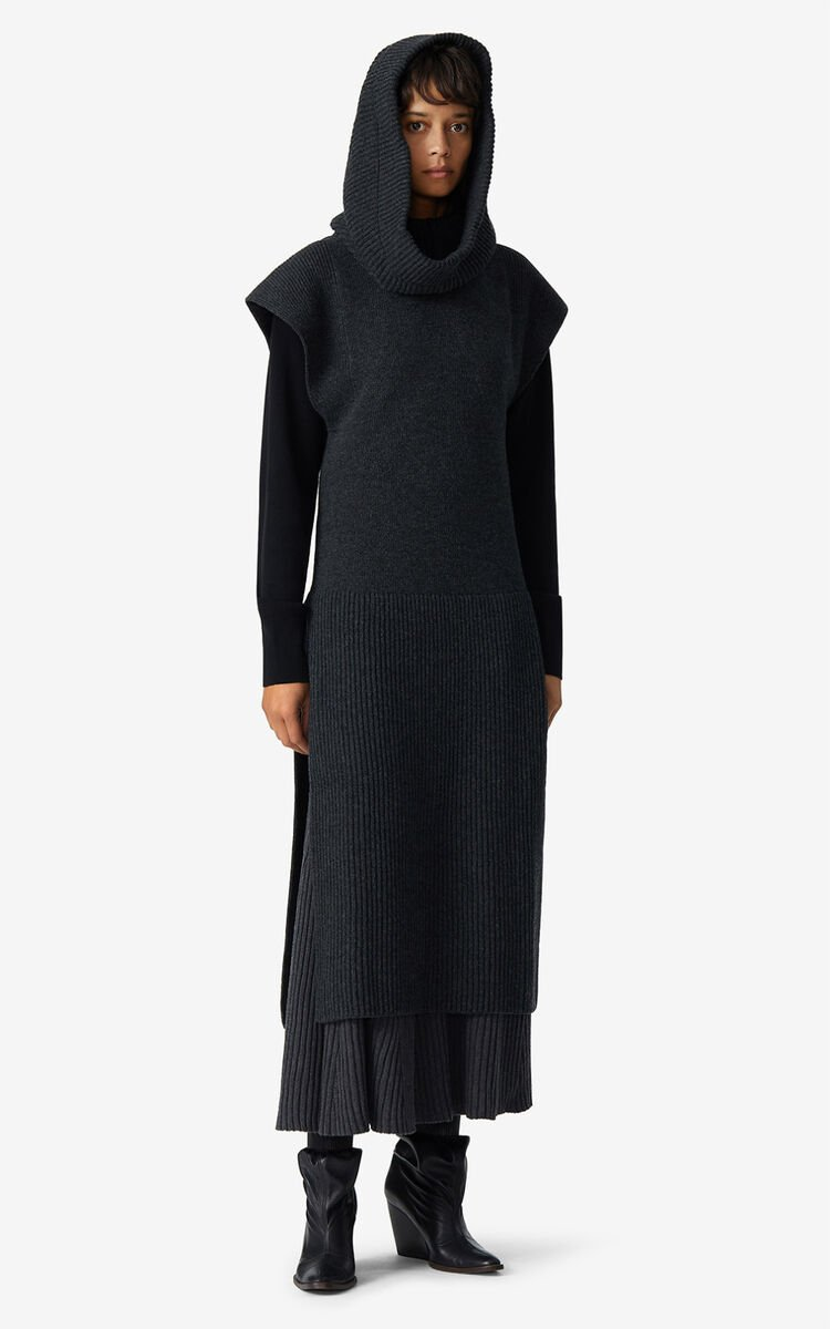 ANTHRACITE Long hooded dress for women KENZO