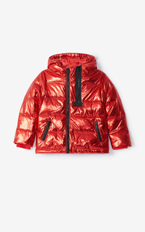MEDIUM RED Metallised padded down jacket  for unisex KENZO