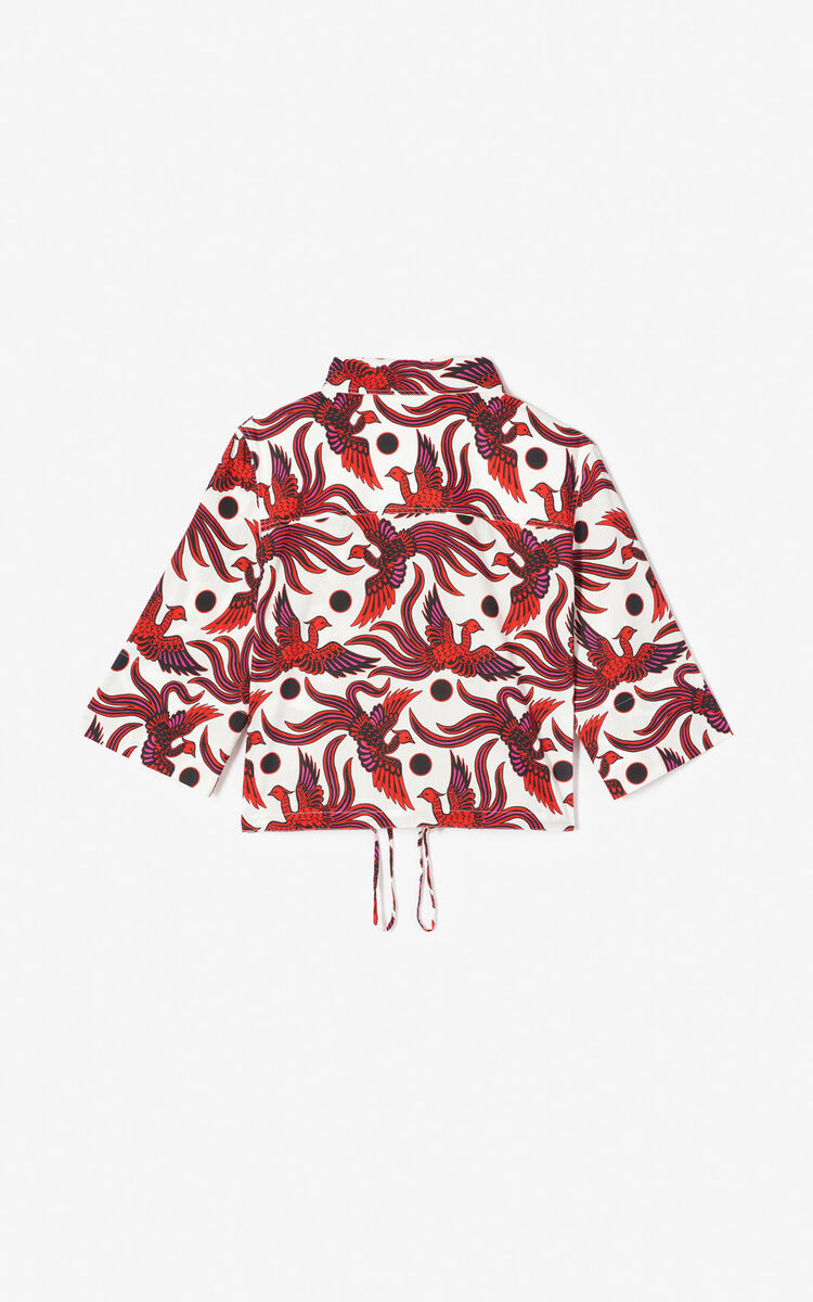 MEDIUM RED 'Flying Phoenix' cropped shirt for women KENZO