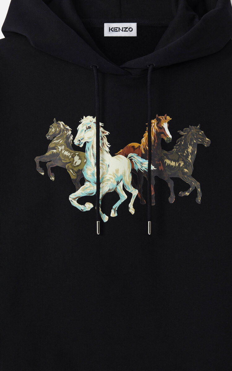 BLACK 'KENZO Chevaux' hoodie sweatshirt for men