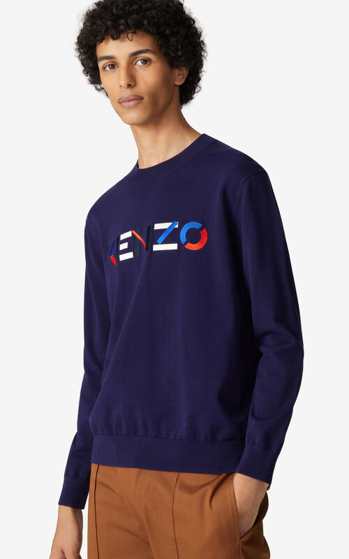 NAVY BLUE Multicoloured KENZO Logo jumper for men