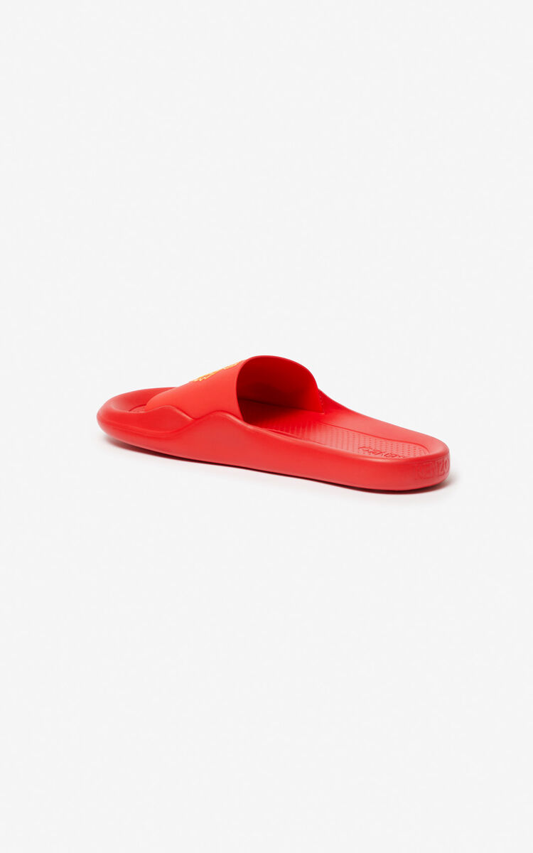 MEDIUM RED Tiger pool mules for unisex KENZO