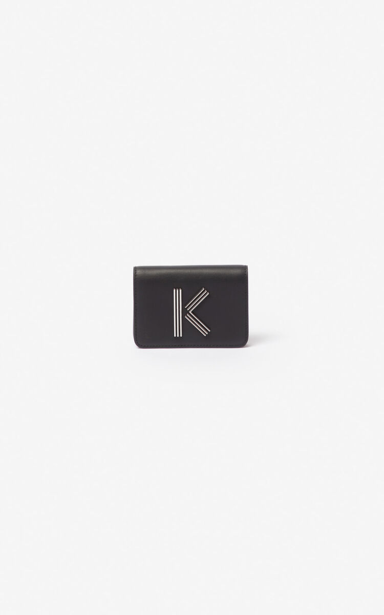 BLACK K-Bag leather coin purse for unisex KENZO