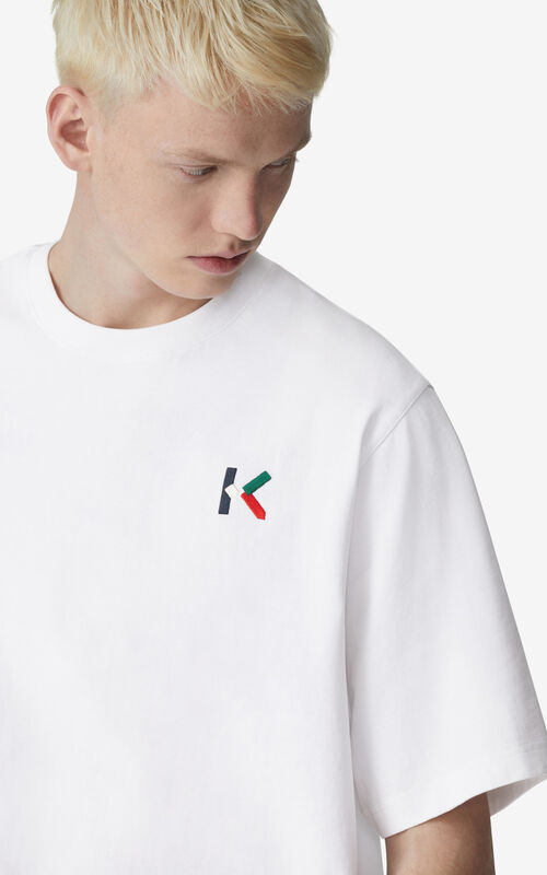 WHITE Oversized K Logo t-shirt for men KENZO