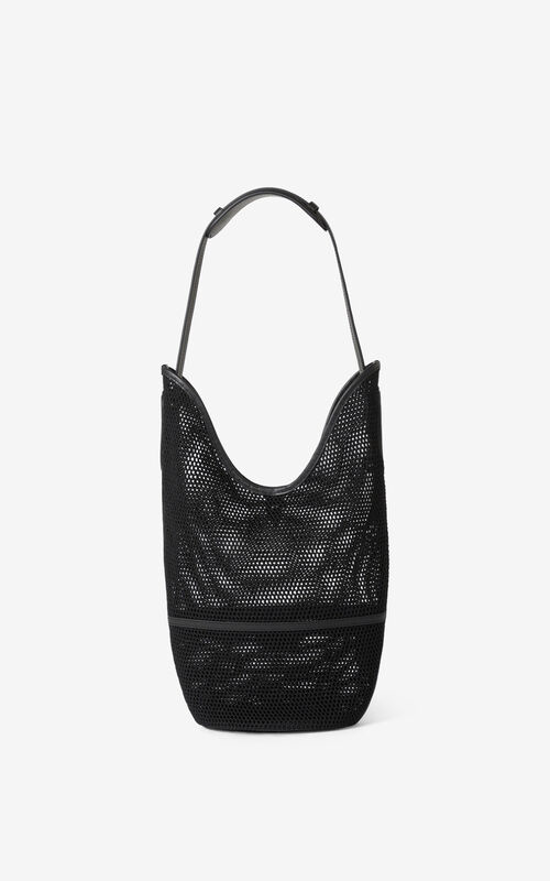 BLACK KENZO Onda mesh bucket bag for unisex