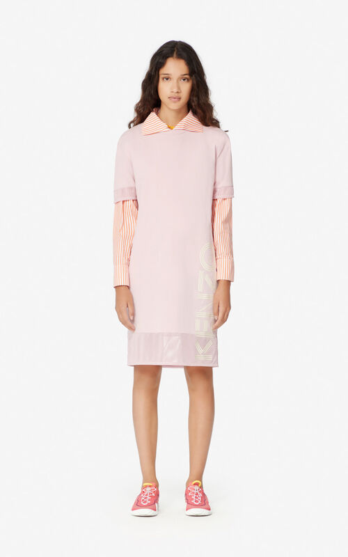 FADED PINK Dual-material KENZO Logo dress for women