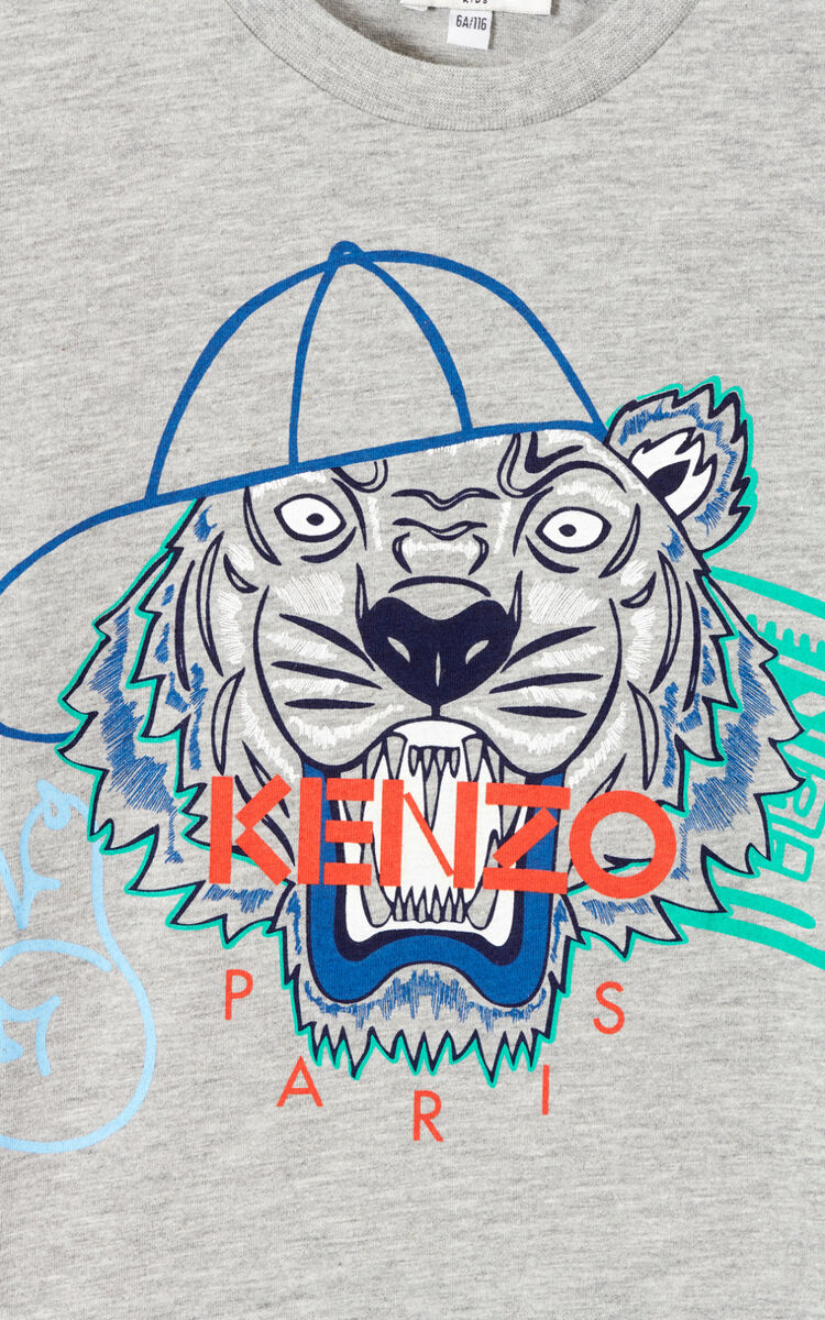 MISTY GREY 'Wax' Tiger T-shirt for men KENZO