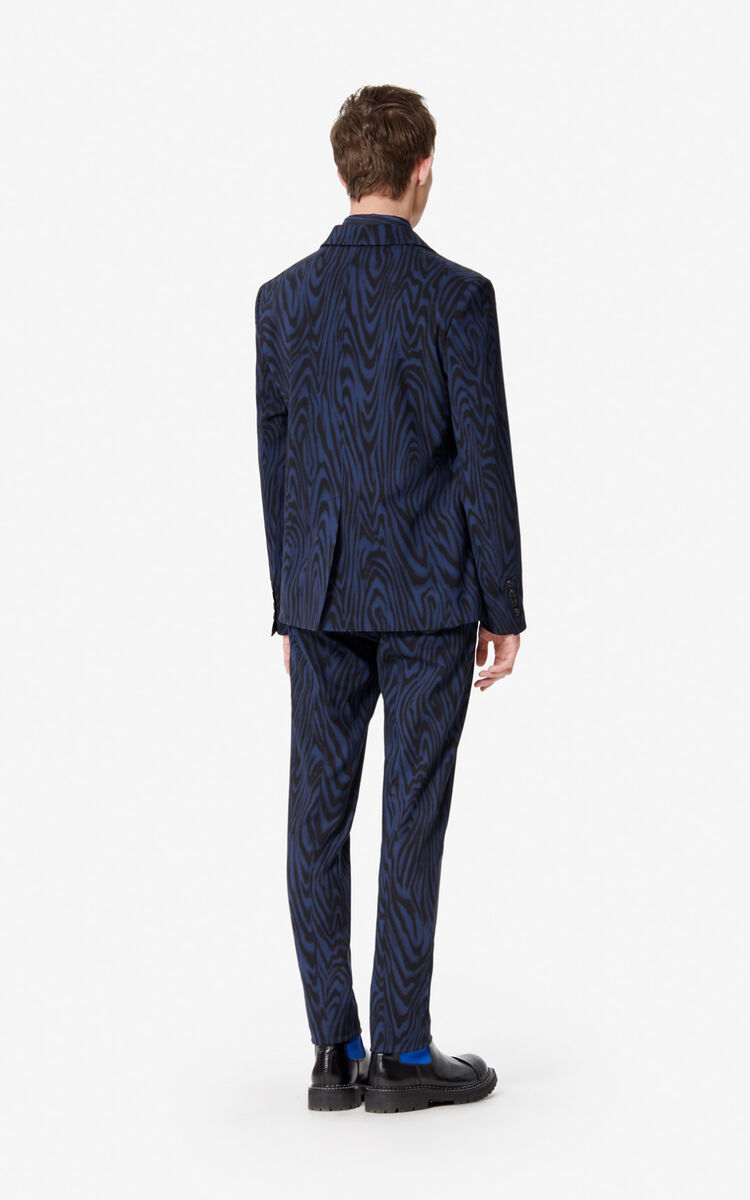 NAVY BLUE 'Moire Tiger' wool blazer for men KENZO