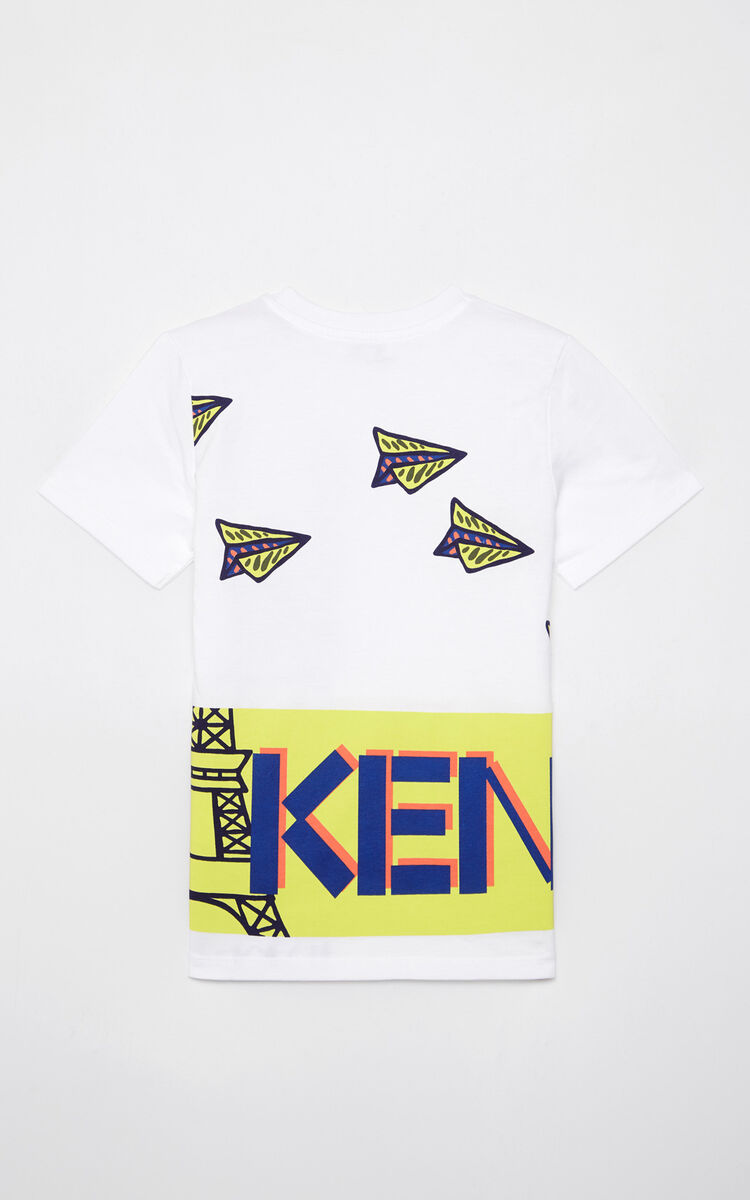 WHITE 'Paper planes' t-shirt for men KENZO