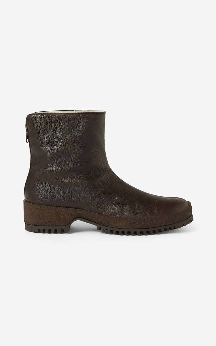 DARK BROWN Grained leather ankle boots for men KENZO