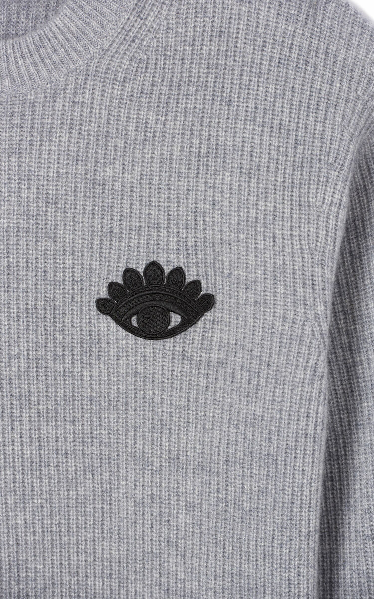 DOVE GREY 'Holiday Capsule' cashmere Eye jumper for men KENZO