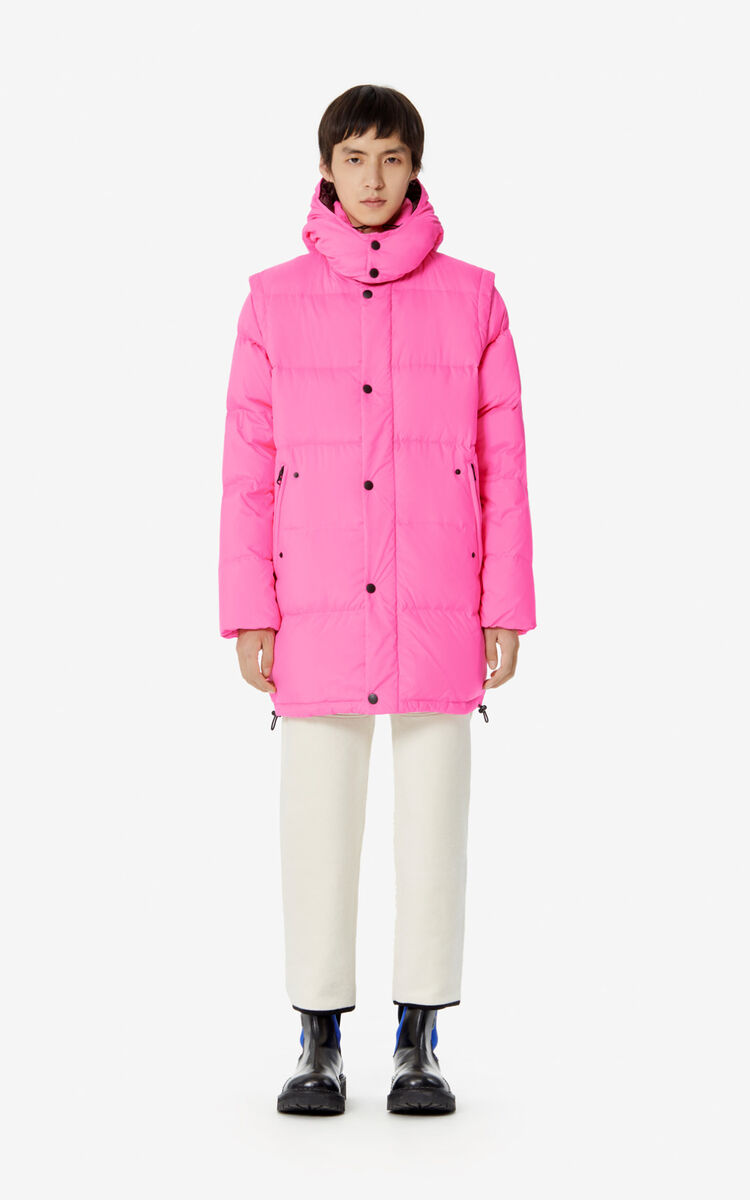 DEEP FUSCHIA Long 2-in-1 'Golden Bamboo' puffer jacket for women KENZO
