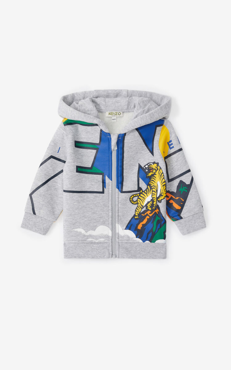 PEARL GREY 'Ventura' hooded zip-up sweatshirt. for men KENZO