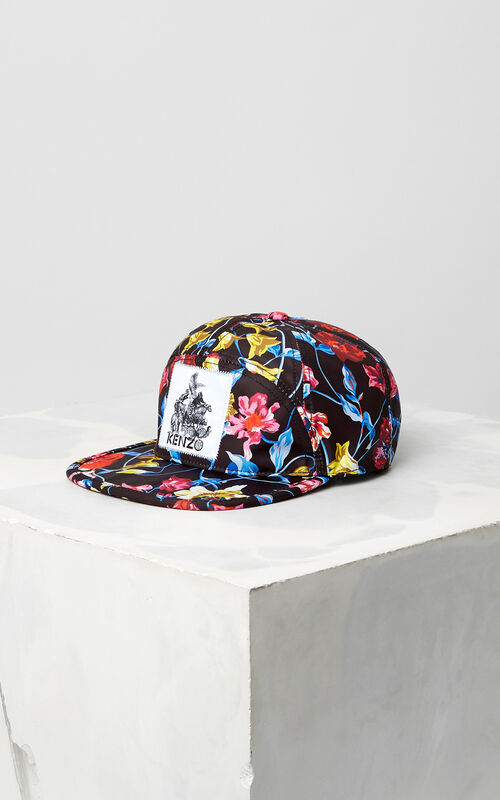 BLACK Wild Flowers' Nylon Cap for women KENZO
