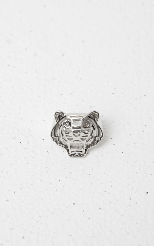 SILVER 3D Tiger Ring for men KENZO