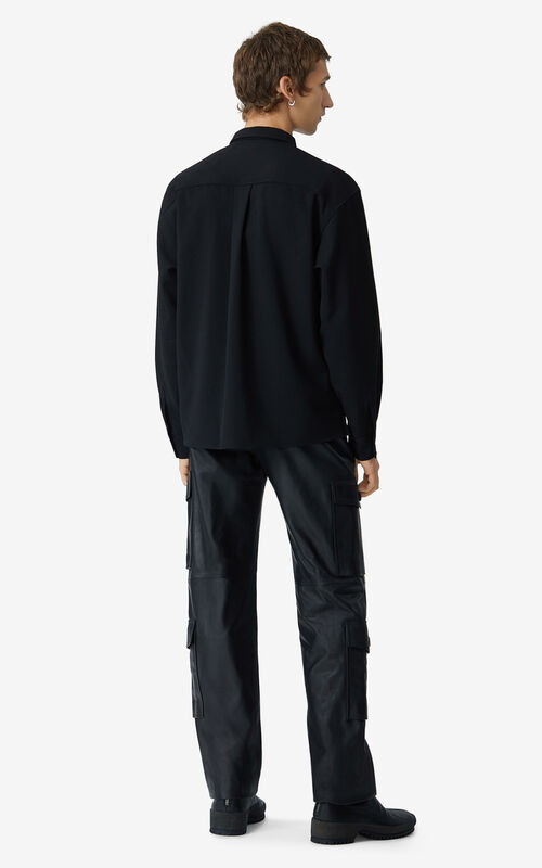 BLACK Double breasted wool shirt for women KENZO