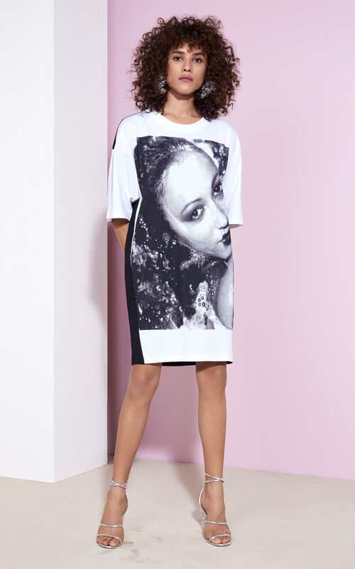 Pat Cleveland t-shirt dress, WHITE, KENZO
