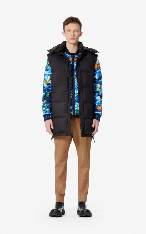 BLACK Long 2-in-1 puffer jacket for men KENZO