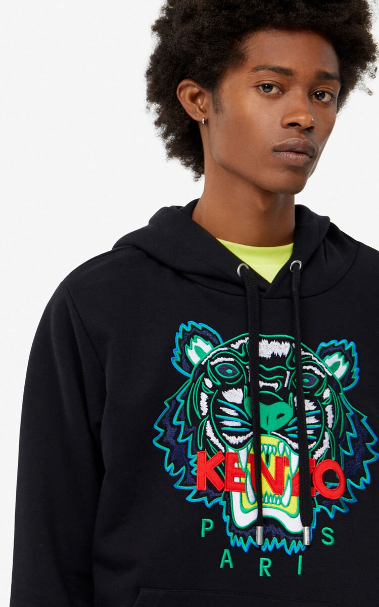 BLACK Tiger hoodie sweatshirt for men KENZO
