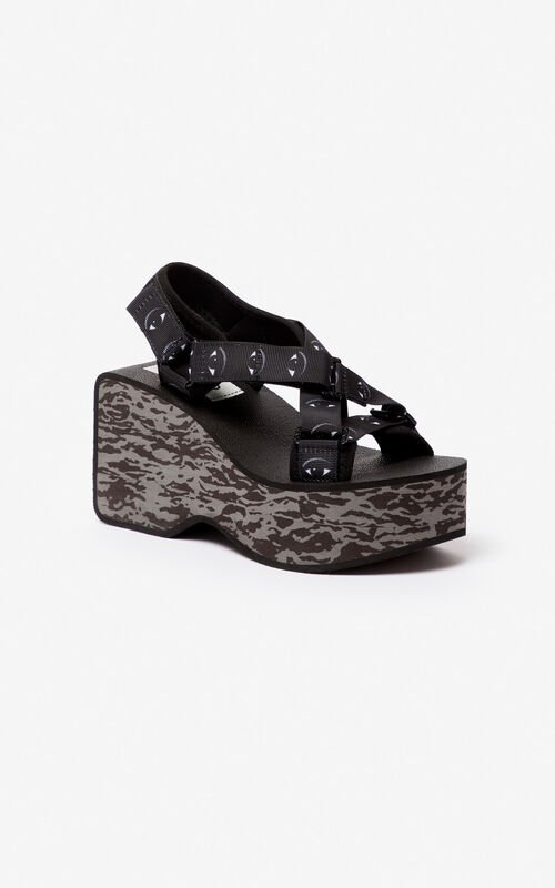 BLACK Lynn platform sandals for unisex KENZO