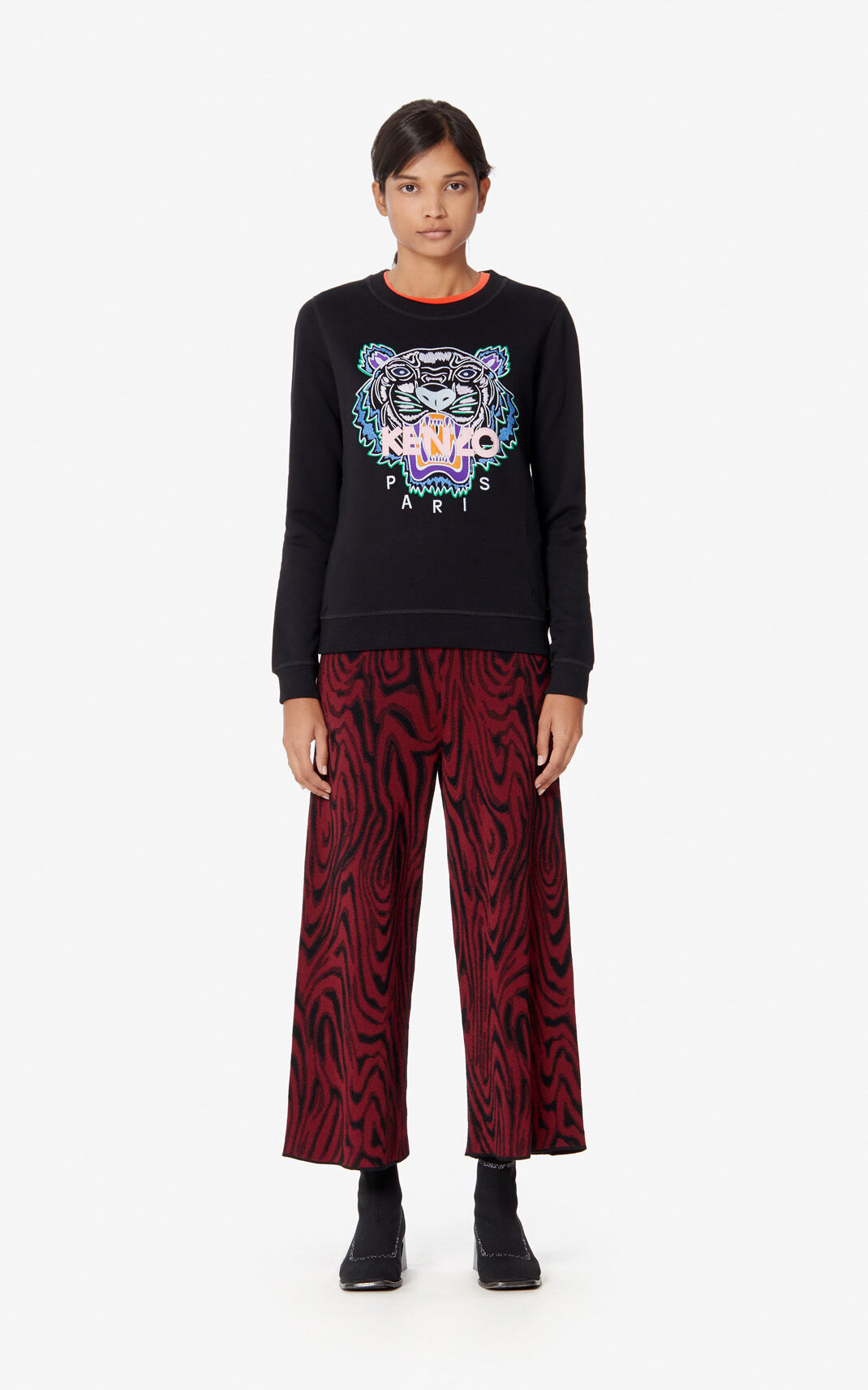 BLACK Embroidered Tiger sweatshirt for women KENZO