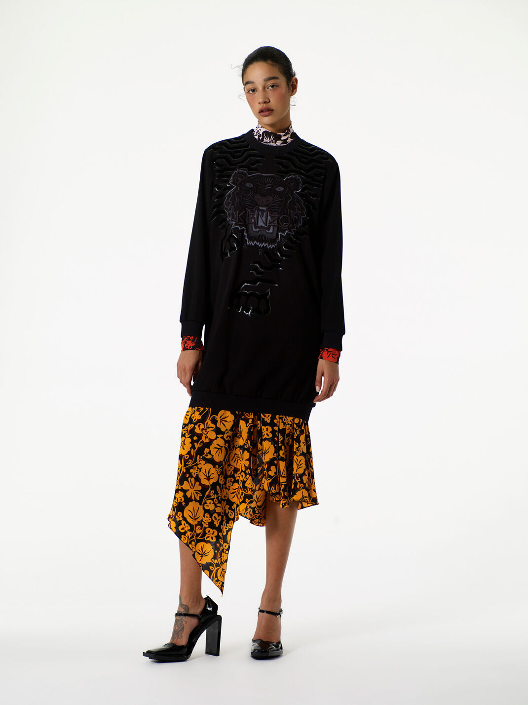 BLACK 'Geo Tiger' Sweatshirt Dress for women KENZO