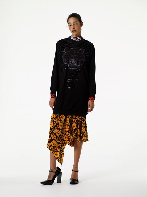 Geo Tiger  Sweatshirt Dress, BLACK, KENZO