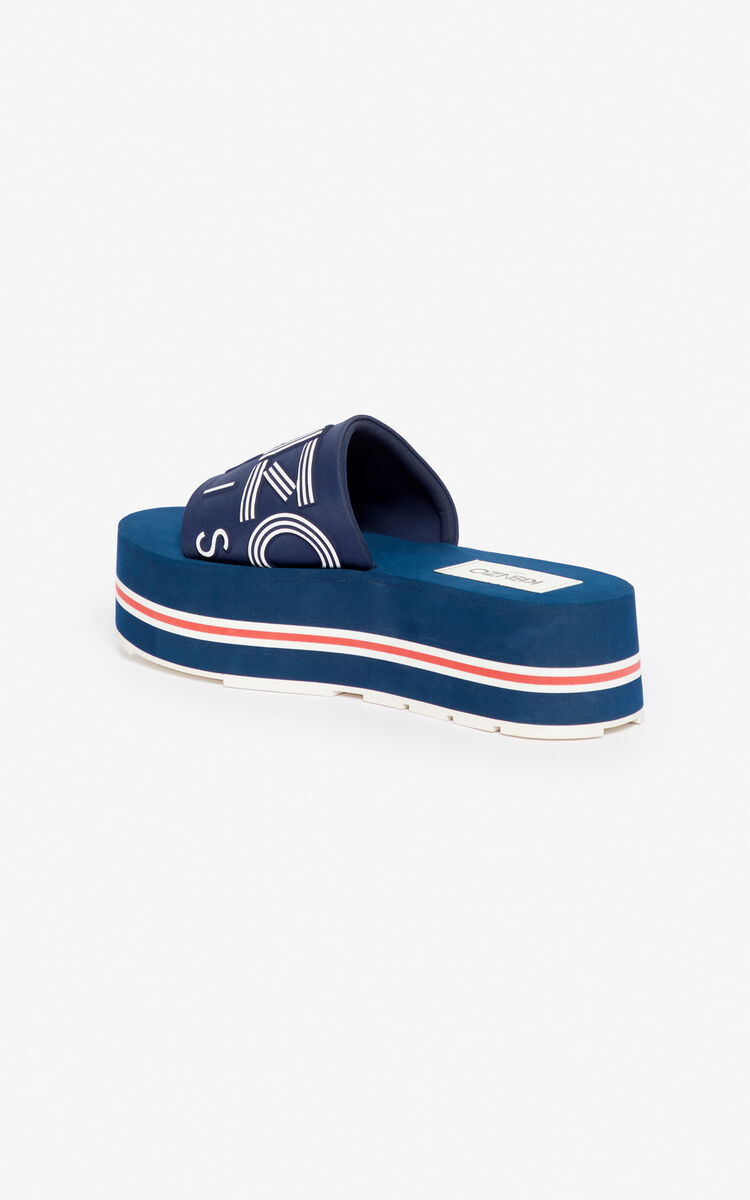 MIDNIGHT BLUE Papaya platform mules for unisex KENZO