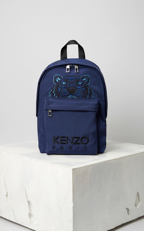 NAVY BLUE Medium Tiger Canvas backpack for global.none KENZO