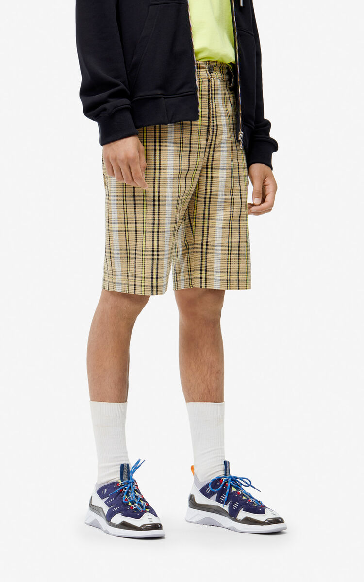 DARK BEIGE Checked shorts for women KENZO