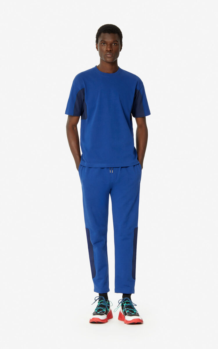NAVY BLUE Dual-material joggers for men KENZO